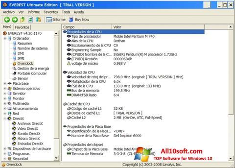 Posnetek zaslona EVEREST Ultimate Edition Windows 10