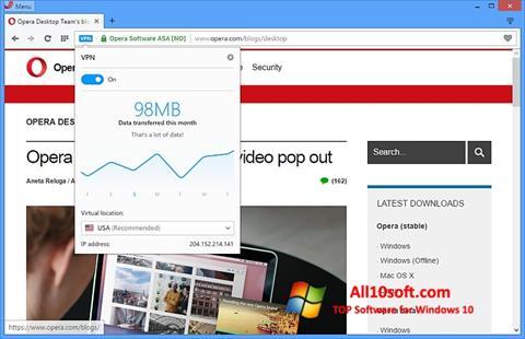 Posnetek zaslona Opera Windows 10