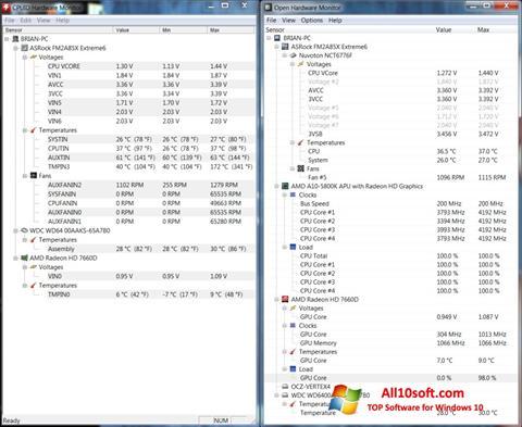 Posnetek zaslona Open Hardware Monitor Windows 10