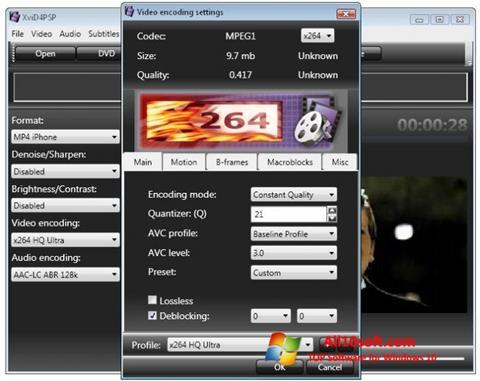 Posnetek zaslona XviD4PSP Windows 10
