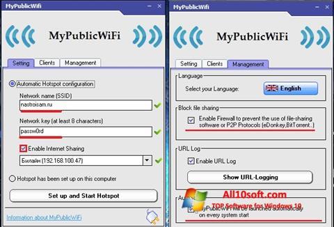 Posnetek zaslona MyPublicWiFi Windows 10