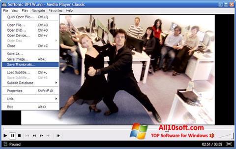 Posnetek zaslona Media Player Classic Windows 10