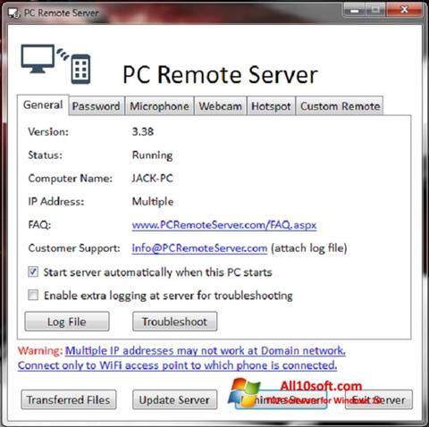 Posnetek zaslona PC Remote Server Windows 10