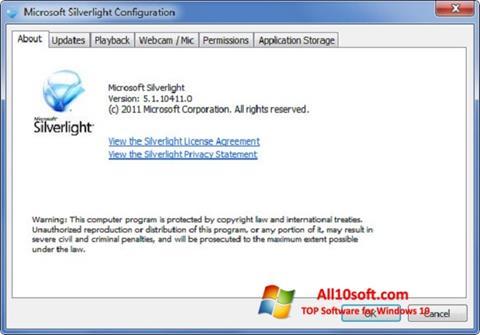 Posnetek zaslona Microsoft Silverlight Windows 10