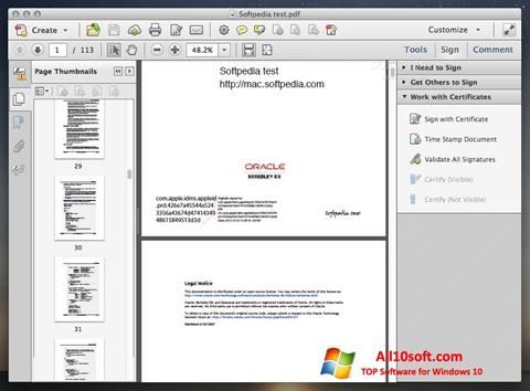 Posnetek zaslona Adobe Acrobat Windows 10
