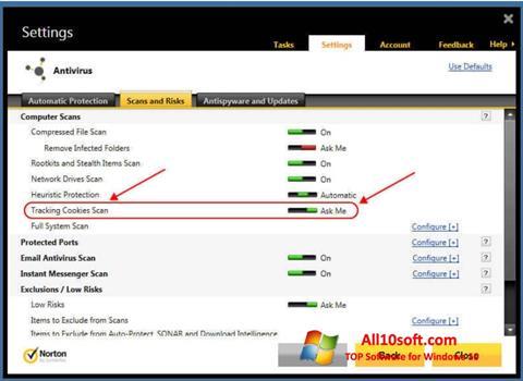 Posnetek zaslona Norton Windows 10