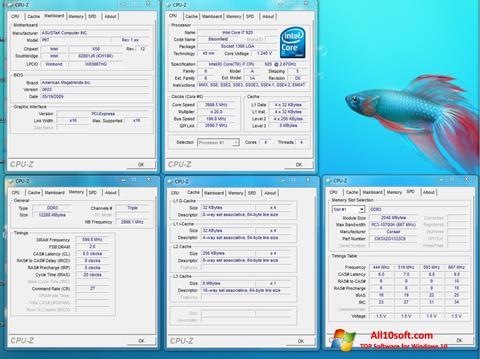 Posnetek zaslona CPU-Z Windows 10
