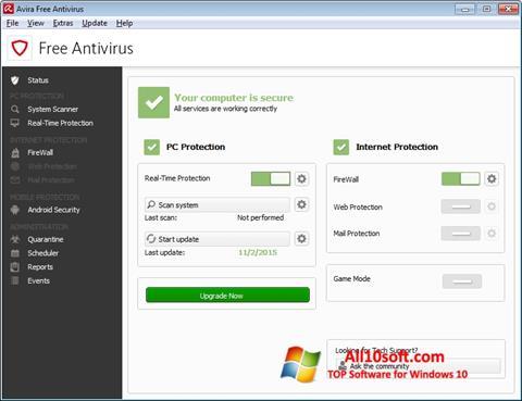 Posnetek zaslona Avira Free Antivirus Windows 10