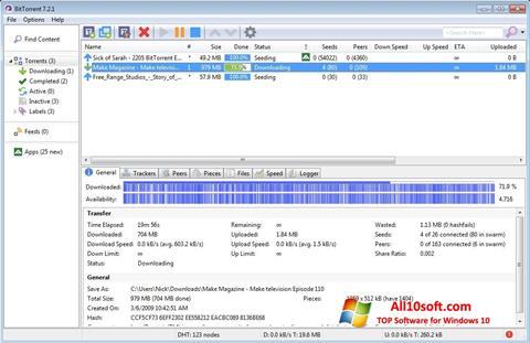Posnetek zaslona BitTorrent Windows 10