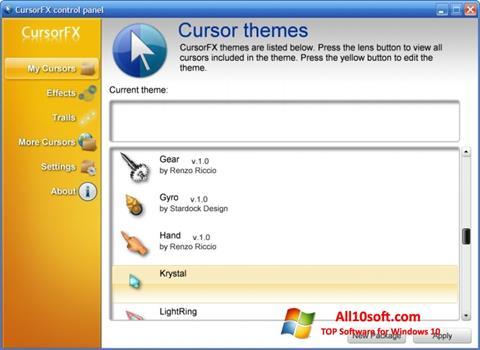Posnetek zaslona CursorFX Windows 10