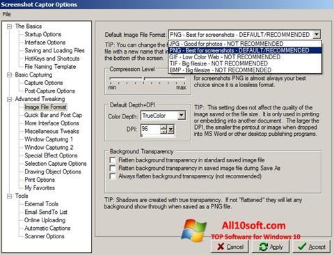 Posnetek zaslona Screenshot Captor Windows 10