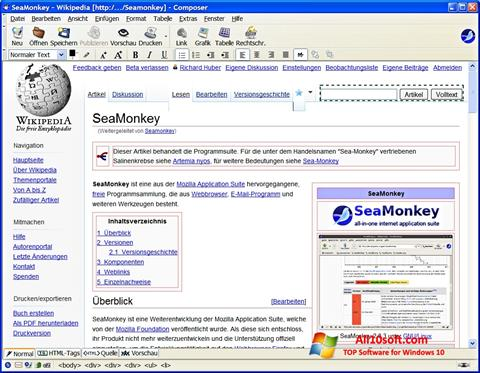Posnetek zaslona SeaMonkey Windows 10