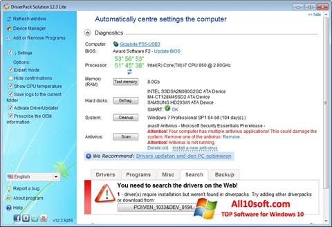 Posnetek zaslona DriverPack Solution Lite Windows 10