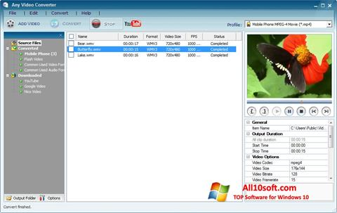 Posnetek zaslona Any Video Converter Windows 10