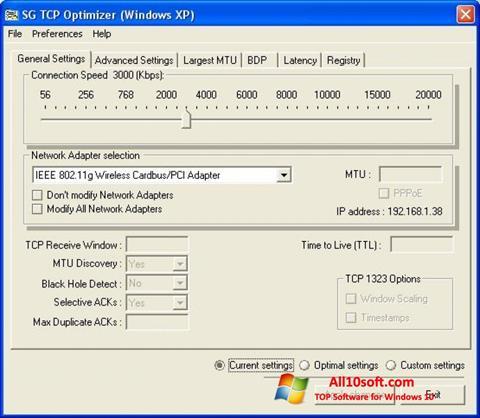 Posnetek zaslona TCP Optimizer Windows 10