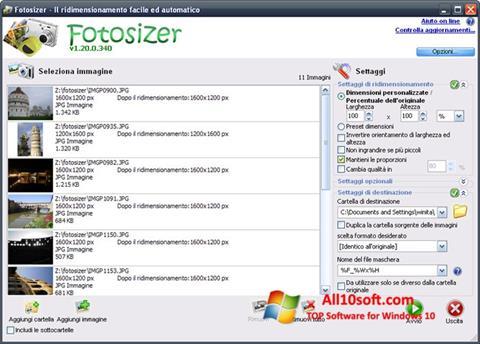 Posnetek zaslona Fotosizer Windows 10