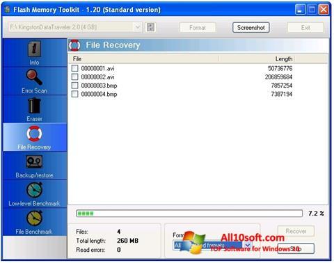 Posnetek zaslona Flash Memory Toolkit Windows 10