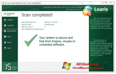 Posnetek zaslona Trojan Remover Windows 10