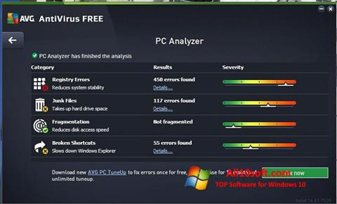 Posnetek zaslona AVG AntiVirus Free Windows 10