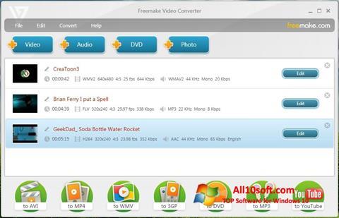 Posnetek zaslona Freemake Video Converter Windows 10