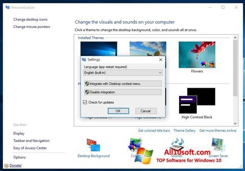 Posnetek zaslona Personalization Panel Windows 10