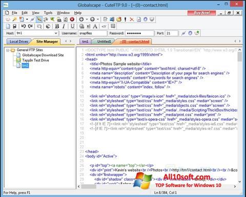 Posnetek zaslona CuteFTP Windows 10
